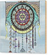 Peace Kite Dangle Illustration Art Wood Print