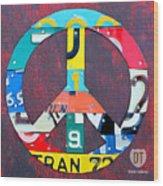 Peace License Plate Art Wood Print