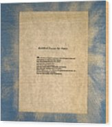 Peace Prayers - Buddhist Prayer For Peace Wood Print