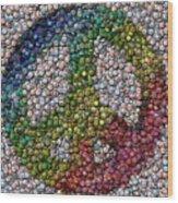 Peace Sign Bottle Cap Mosaic Wood Print