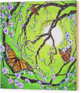 Peace Tree With Monarch Butterflies Wood Print