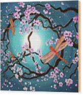 Peace Tree With Orange Dragonflies Wood Print