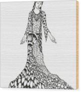 Peace Woman Wild Ink Wood Print