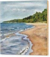 Peaceful Beach At Pier Cove Ll Wood Print