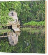 Peaceful Cabin Wood Print by Desiree Schmidt