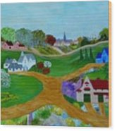 Peaceful Country Lanes Wood Print by Anke Wheeler