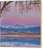 Peaceful Early Morning First Light Longs Peak View Wood Print
