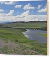 Peaceful Lake At Yellowstone Wood Print by Diane Wallace