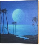 Peaceful Moonlit Night Wood Print by Michael Odom