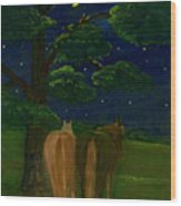 Peaceful Night Wood Print by Anna Folkartanna Maciejewska-Dyba