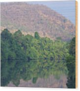peaceful river in Sangkhlaburi in Thailand Wood Print