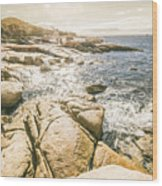 Peaceful Sun Flared Australian Coastline Wood Print