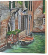 Peaceful Venice Canal Wood Print