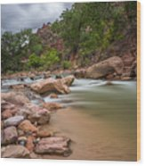 Peaceful Waters Of Zion Wood Print