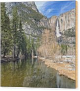 Peaceful Winter River Through Yosemite Valley Wood Print