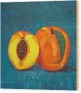 Peach And A Half Wood Print