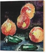Peach And Peppers Wood Print