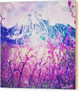Peach Blossoms And Mount Lanborn Vi Wood Print