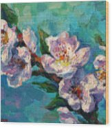 Peach Blossoms Flowers Painting Wood Print