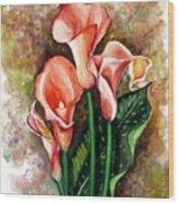 Peach Callas Wood Print
