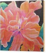 Peach Double Hibiscus Wood Print