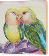 Peach-faced Lovebirds Wood Print