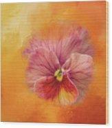 Peach Pansy Wood Print