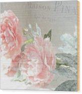 Peach Peonies Impressionistic Peony Floral Prints - French Impressionistic Peach Peony Prints Wood Print