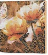 Peach Peonies Wood Print