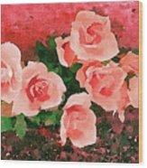Peach Roses Wood Print