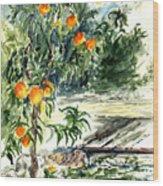 Peach Tree Wood Print