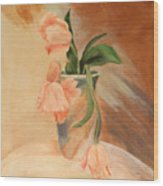 Peach Tulips Wood Print