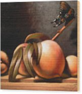 Peaches And Butterfly Wood Print by Timothy Jones