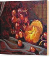 Peaches And Grapes Wood Print
