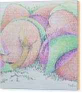 Peaches And Plums Wood Print