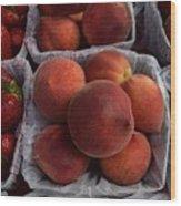 Peaches And Strawberries Wood Print