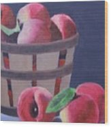 Peaches In A Basket Wood Print