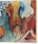 Peaches Wood Print by Laura Joan Levine
