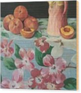 Peaches On Floral Tablecloth Wood Print