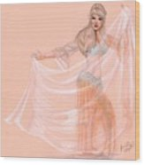 Peachy Dancer Wood Print