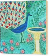 Peacock And Birdbath Wood Print