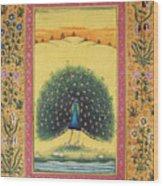 Peacock Dancing Painting Flower Bird Tree Forest Indian Miniature Painting Watercolor Artwork Wood Print