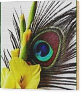 Peacock Feather And Gladiola 3 Wood Print
