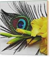 Peacock Feather And Gladiola 4 Wood Print