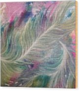 Peacock Feathers Pastel Wood Print