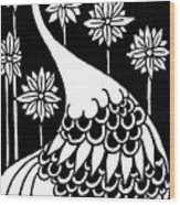 Peacock Illustration From Le Morte D'arthur By Thomas Malory Wood Print