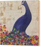 Peacock In My Garden Wood Print