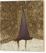 Peacock In Sepia Wood Print