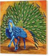Peacock Pegasus Wood Print