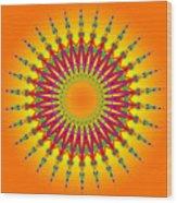 Peacock Sun Mandala Fractal Wood Print